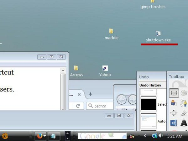 A screen from a Windows computer showing instructions for making a shortcut.