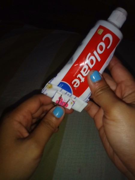 Using a binder clip for your toothpaste.