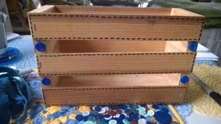 Embellishing a Wooden Crate as a Recipe Box - adding buttons