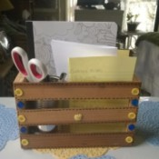 Embellishing a Wooden Crate as a Recipe Box - paper, scissors, and other supplies in crate