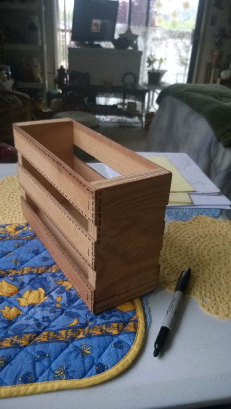 Embellishing a Wooden Crate as a Recipe Box - stitches on all parts