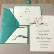 Wedding invitations using a printed kit.