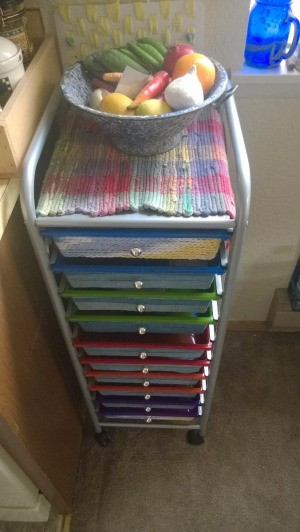 Refurbishing a Neon Drawer Unit for My Kitchen - yarn chain wrapped drawer unit