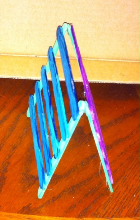 Craft Stick Earring Holder - glue tips of the top