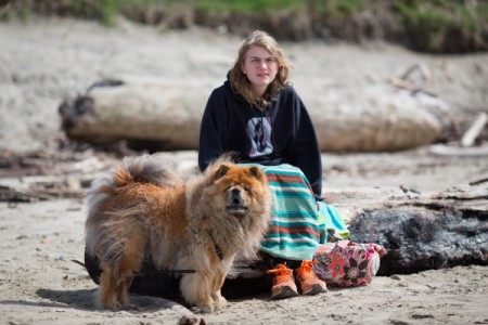 Honey (Chow Chow) - Honey and owner at the beach