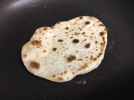 flatbread flipped in pan