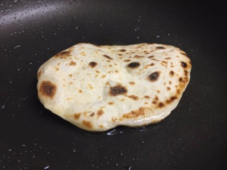 Homemade Soft Flatbread in pan