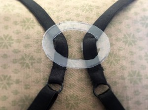 DIY Bra Strap Hider - in place on black bra straps