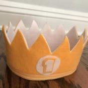 Felt Birthday Crown - yellow and white first birthday felt crown