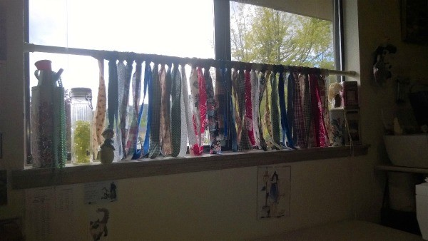 Ripped Rag Curtain - hanging in window