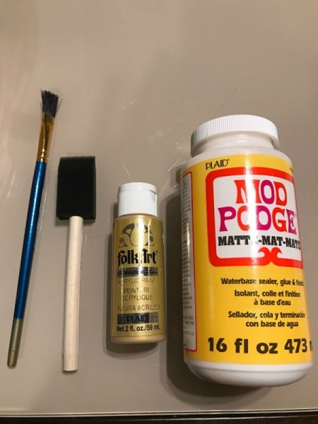 How to Mod Podge Cardstock to Canvas - supplies