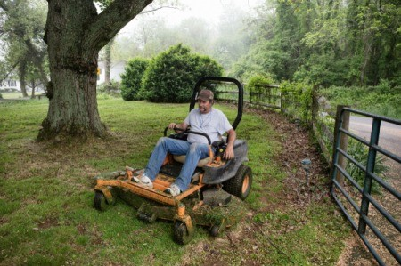 Man on Riding Lawn Mower