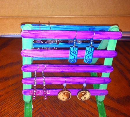 Craft Stick Earring Holder - finished earring holder