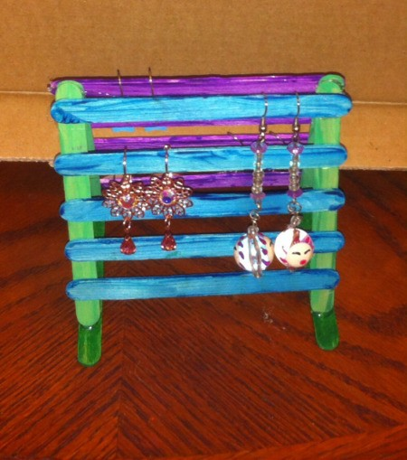 Craft Stick Earring Holder - hang on earrings