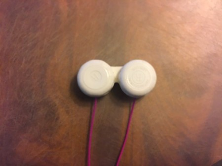 Contact Lens Case as Earbud Headphones Case - case with lids on and wires extending outside of bowls