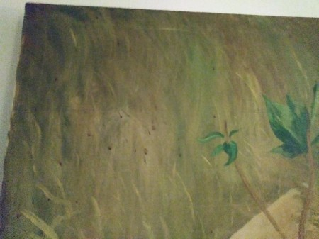 Cleaning Cigarette Tar Off an Oil Painting - green painting