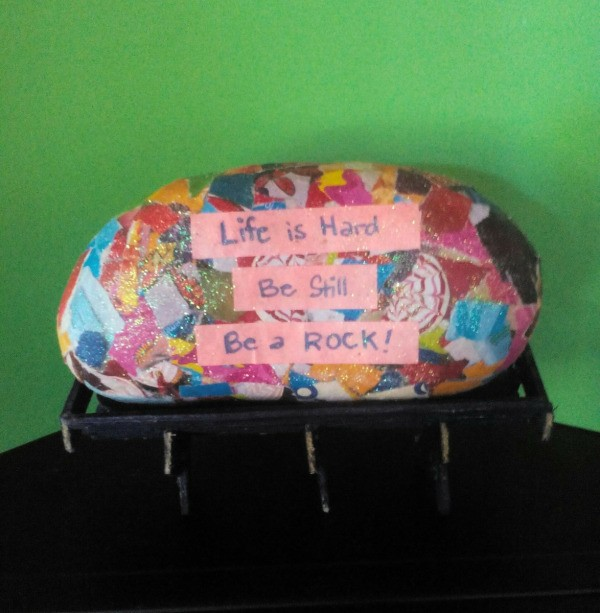 Paper Weight - finished decoupaged rock paper weight