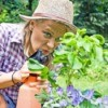 Woman Spraying Insecticide on plants
