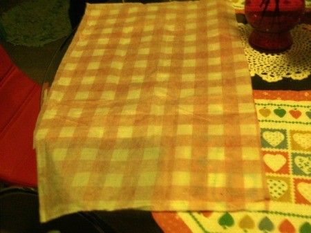Thrifty Patio Chair Pillows - fold tablecloth with right sides together
