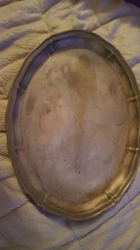 Value of Old Silver Tray Without Markings - tarnished silver tray