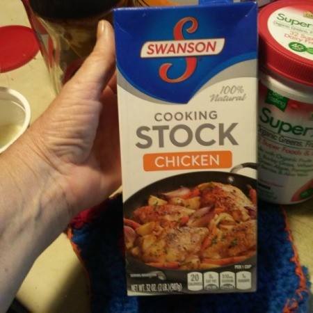 A box of chicken cooking stock.