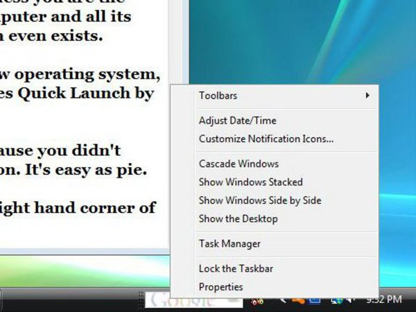 A computer screen showing how to use Window's Quick Launch options.