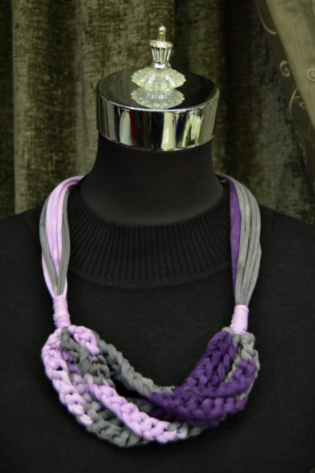 Modern T-shirt Yarn Necklace - finished necklace