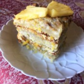 Vegan Pineapple Banana Cake on plate