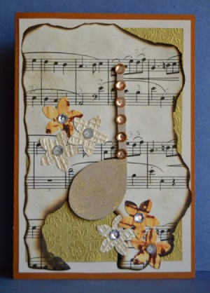Vintage Music Birthday Card - finished card