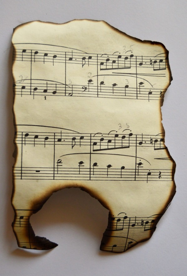 Making a vintage music birthday card thriftyfun vintage music birthday card cut a piece of the music sheet burn edges bookmarktalkfo