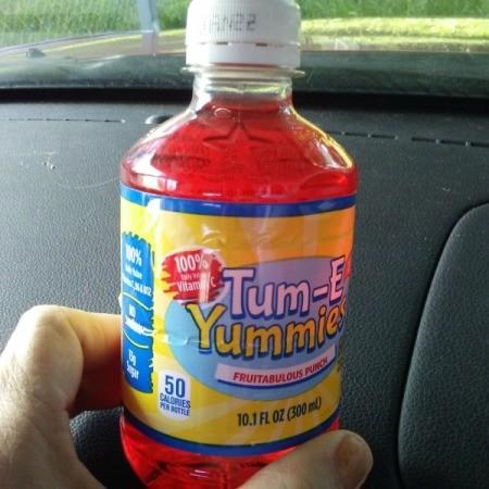 A fruit drink in a plastic bottle.