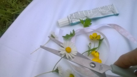 Wild Flower Wrist Corsage - snip flowers from stems and leaves from starks