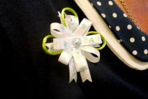 Ribbon and Cord Brooch - slightly off side view of brooch