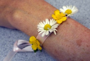 Wild Flower Wrist Corsage - daisy and buttercup flower wristlet