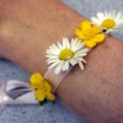 Wild Flower Wrist Corsage - daisy and buttercup flower wristlet