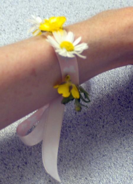 Wild Flower Wrist Corsage - corsage tied to wrist
