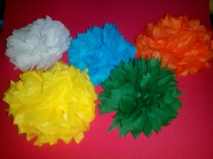 Paper Pom Poms - more poms in multiple colors with differing edge cut trim