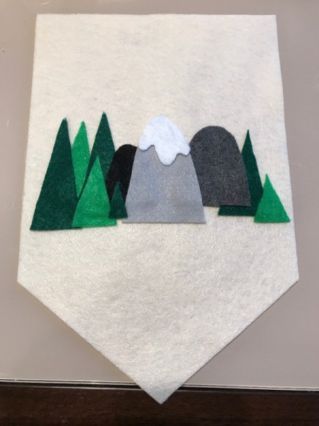 Pennant Flag Kids Room Decor - trees and snow capped mountain pieces arranged