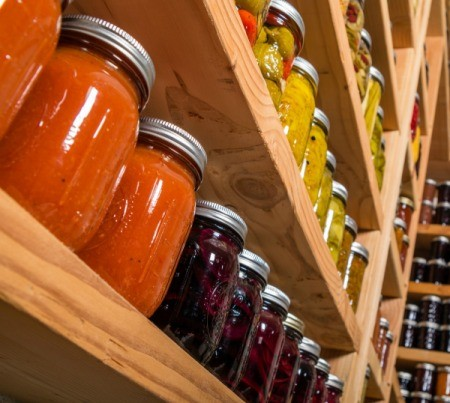 Canning Jars in Pantry