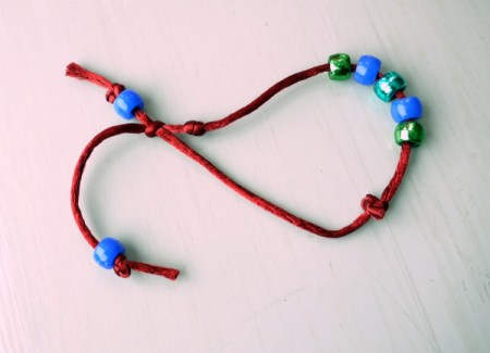 Surfer Dude Wrist Band - trim cord to length and tie knots to keep beads on