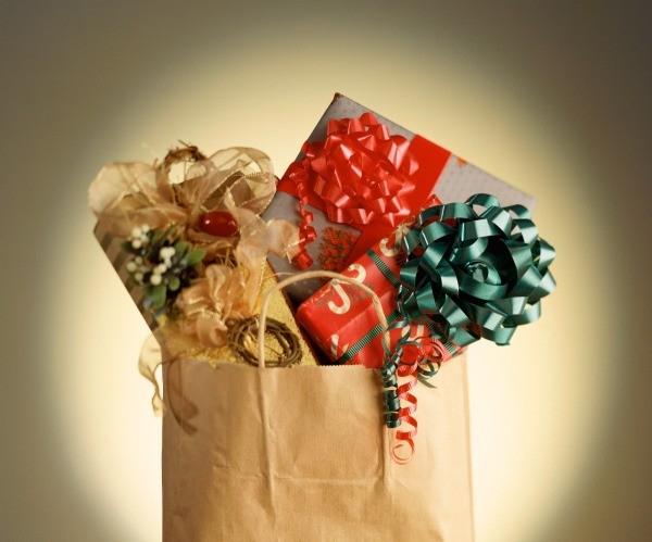 gift bag stuffed with gifts
