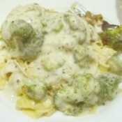 Broiled Haddock over Broccoli Alfredo Fettuccine