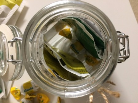 Get Well Soon Gift Jar - placing tea bags in the jar