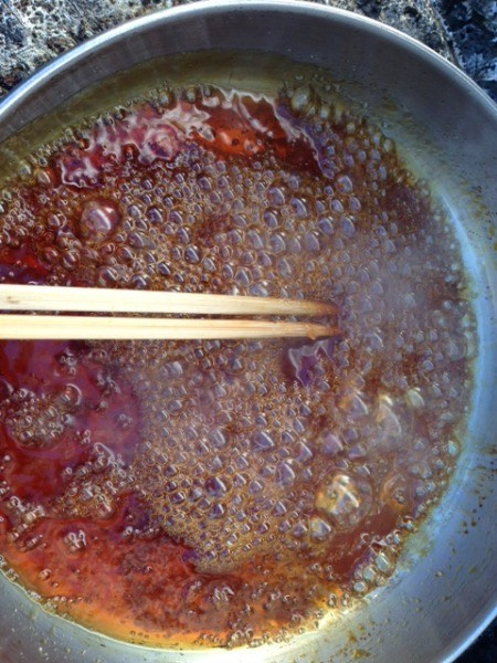 water and sugar in pan
