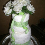 Bridal Shower Centerpiece or Gift - arrange flowers and ribbon spirals on the top to finish