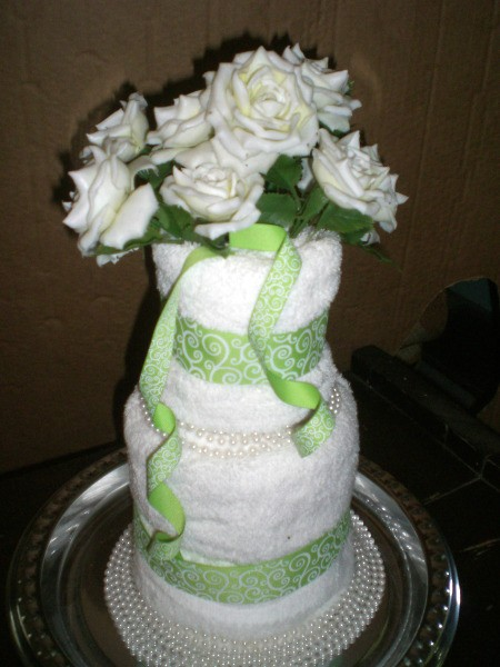 Bridal Shower Centerpiece or Gift - finished towel cake gift
