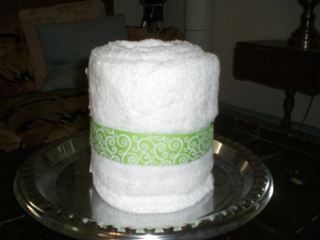 Bridal Shower Centerpiece or Gift - place large towel on the tray