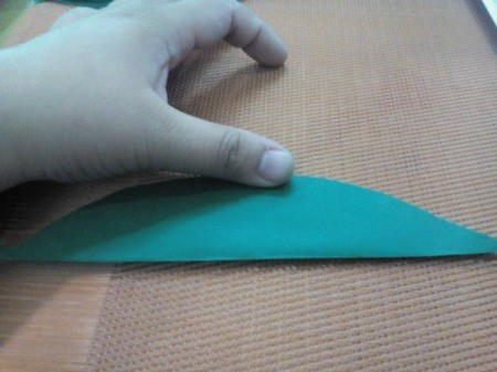 Folded Paper Leaf - press down the center fold