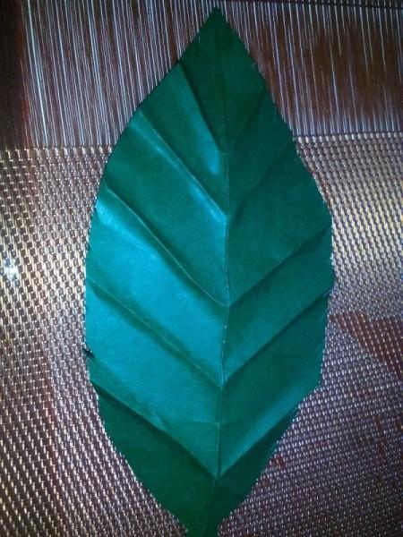 Folded Paper Leaf - leaf with side veins