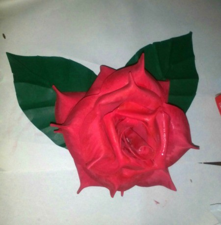 Folded Paper Leaf - leaves mounted to foam rose